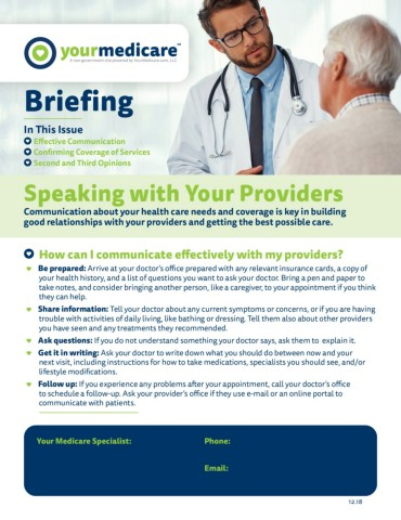 Speaking with Your Providers